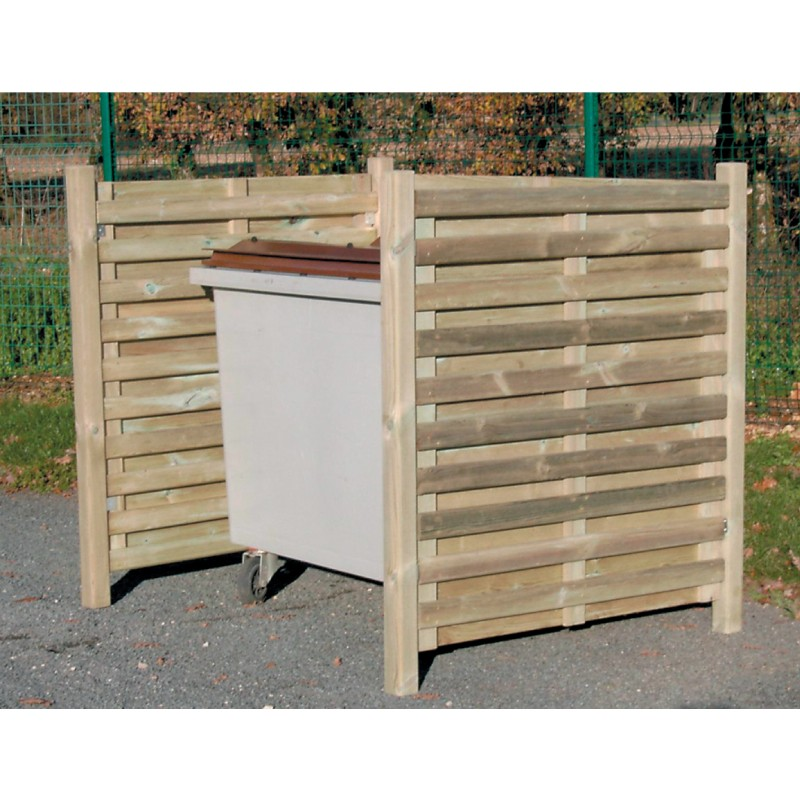 Cache conteneurs simple en bois kerlouan for Conteneur bois