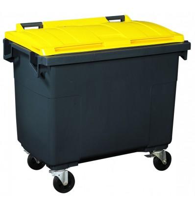 Conteneur roulant 4 roues 660 litres coloris couvercle jaune zinc