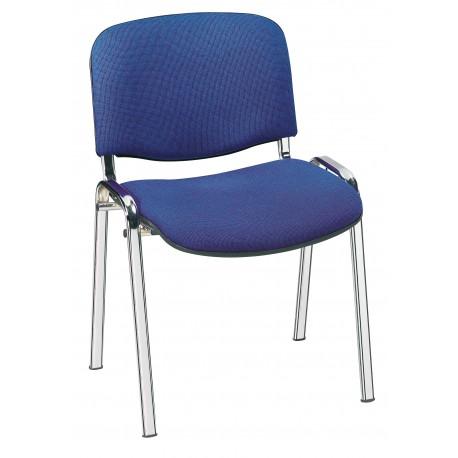 Chaise CLUNY tissu coloris bleu piétement chromé
