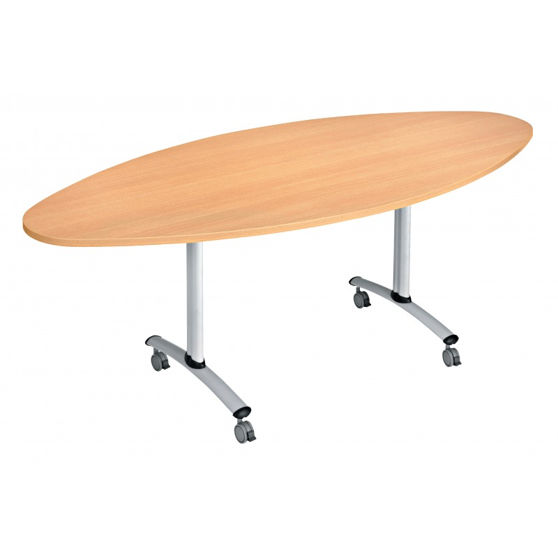 Table basculante flip ovale 200 cm x 90 cm for Table exterieure a roulettes