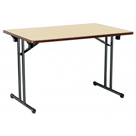 Table TIGNES plateau beige piétement gris martelé