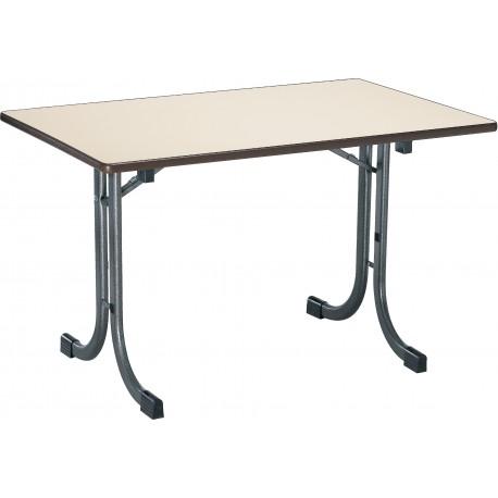Table DAUPHINE rectangulaire plateau stratifié beige piétement gris martelé