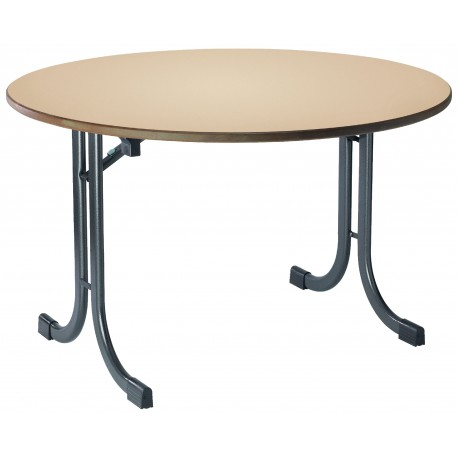 Table DAUPHINE ronde plateau beige piétement gris martelé